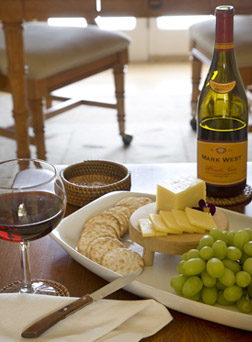 Enjoy wine and cheese in your room at the High Pointe Inn Bed and Breakfast on Cape Cod