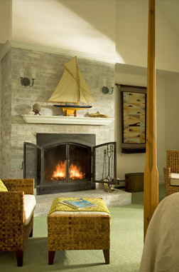 Enjoy the Sand Dollar fireplace room at the High Pointe Inn Bed and Breakfast on Cape Cod